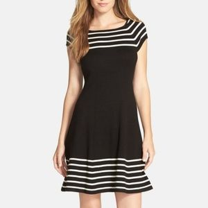 NWT Eliza J Striped Knit Flare Dress